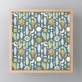 Bohemian spirit // dark turquoise background Framed Mini Art Print