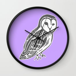 Grey Barn Owl Art Wall Clock