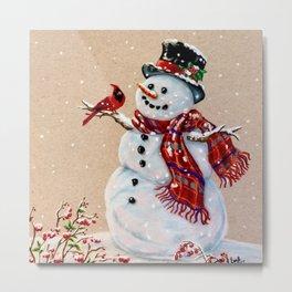 Snowman and cardinal Metal Print