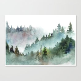 Watercolor Pine Forest Mountains in the Fog Leinwanddruck