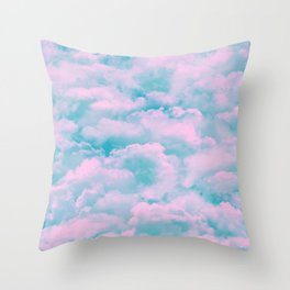 Teal sky, pink fluffy clouds Throw Pillow