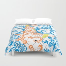 Cobwebbed Flower Lace Pattern Duvet Cover