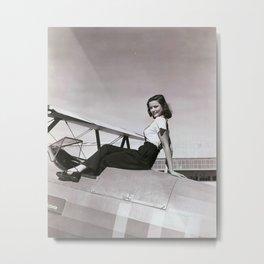 GENE TIERNEY SITTING ON AIRPLANE Original Vintage 1942 PIN Metal Print