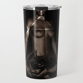 Black Queen Artistic Nude African American Woman  Rose  Travel Mug