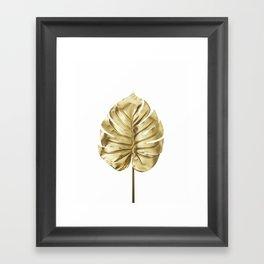 Gold monstera minimal Framed Art Print