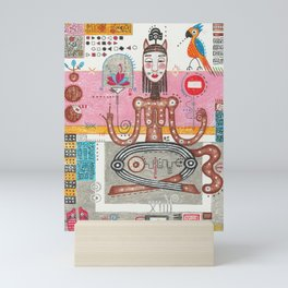 Yoga Lotus pose, abstract figurative geometric colorful crazy mixed media painting Mini Art Print