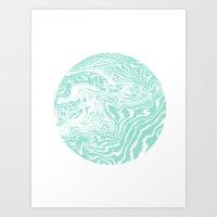 Spilled ink suminagashi mint marble stone watercolor marbling circle orb minimalism Art Print