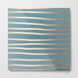Abstract Drawn Stripes Gold Tropical Ocean Blue Metal Print