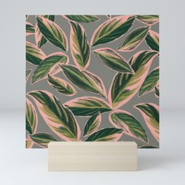 Calathea Leaves Pattern- Pink Green Gray Mini Art Print