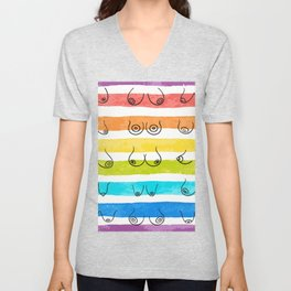 Minimal female breast size feminine body front view different boobs form Watercolor rainbow stripes Unisex V-Neck