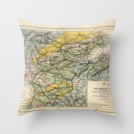 Scotch Coal Fields Vintage Map Throw Pillow