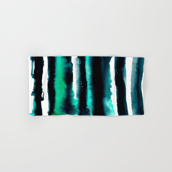 Abstract green and black painting Hand & Bath Towel