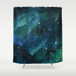 Emerald Galaxy Shower Curtain