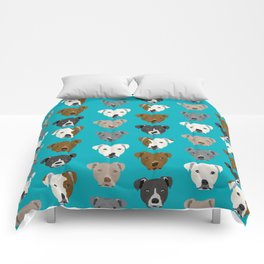 Pitbull faces dog art dog pattern pitbulls cute gifts for rescue dog owners Comforters