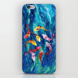 Koi fish rainbow abstract paintings iPhone Skin