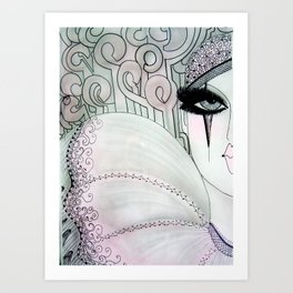 GREY PINK 80S PIERROT CLOWN HARLEQUIN ART DECO PRINT Art Print