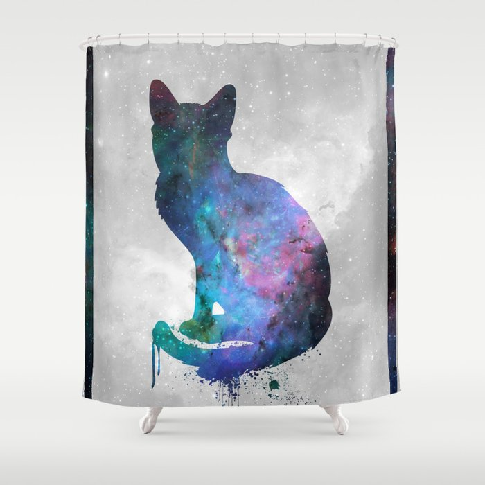 Galaxy Series Cat Shower Curtain By Wintermedia