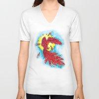 phoenix V-neck T-shirts featuring Phoenix by missfortunetattoo