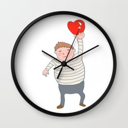 fat boy holding a heart. Wall Clock