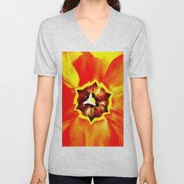 Orange Red Calyx Unisex V-Neck