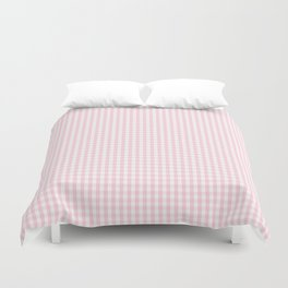 Mini Soft Pastel Pink and White Gingham Check Plaid Duvet Cover