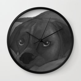 Puppy Dog Eyes Black and White Sketch Wall Clock