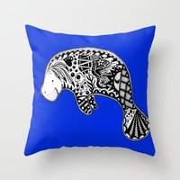 manatee Throw Pillows featuring Manatee by Casey Virata