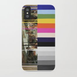 Garage Sale Painting of Peasants with Color Bars iPhone Case