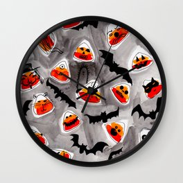 Halloween Candy Corn - Monsters - Trick or Treat Wall Clock