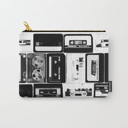 Retro Music Cassette Tapes - Black & White Carry-All Pouch