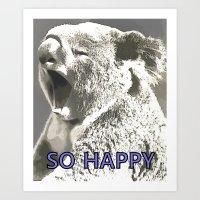 koala Art Prints featuring Koala  by PureVintageLove