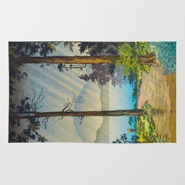 Tsuchiya Kôitsu Japanese Woodblock Vintage Print Light Shining Through Forest Trees Lake Rug