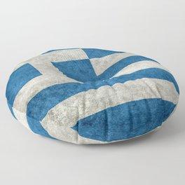 Flag of Greece, vintage retro style Floor Pillow