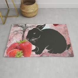 Black Rabbit and Strawberries Rug
