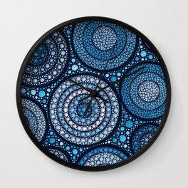 Dot Art Circles Ocean Blues Wall Clock