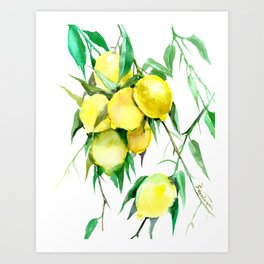 Lemon Tree. lemons kitchen design decor Art Print