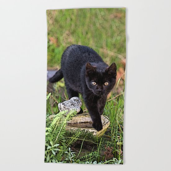 Lovely black cat walking her garden Beach Towel