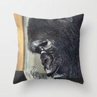 gorilla Throw Pillows featuring gorilla by Hugo Barros