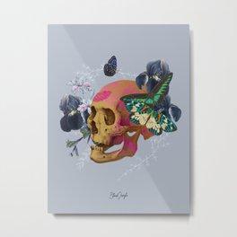 Gold Skull Butterfly Flower Metal Print