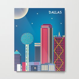 Dallas, Texas - Skyline Illustration by Loose Petals Metal Print