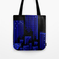 cityscape Tote Bags featuring Cityscape by Something Funny Is Happening