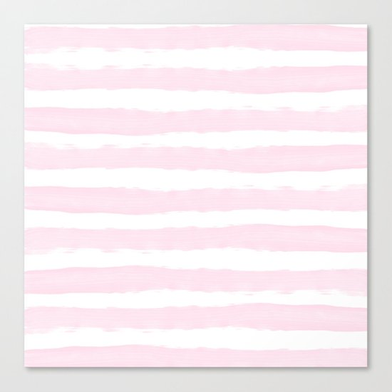 Pink handpainted stripes on clear white Canvas Print