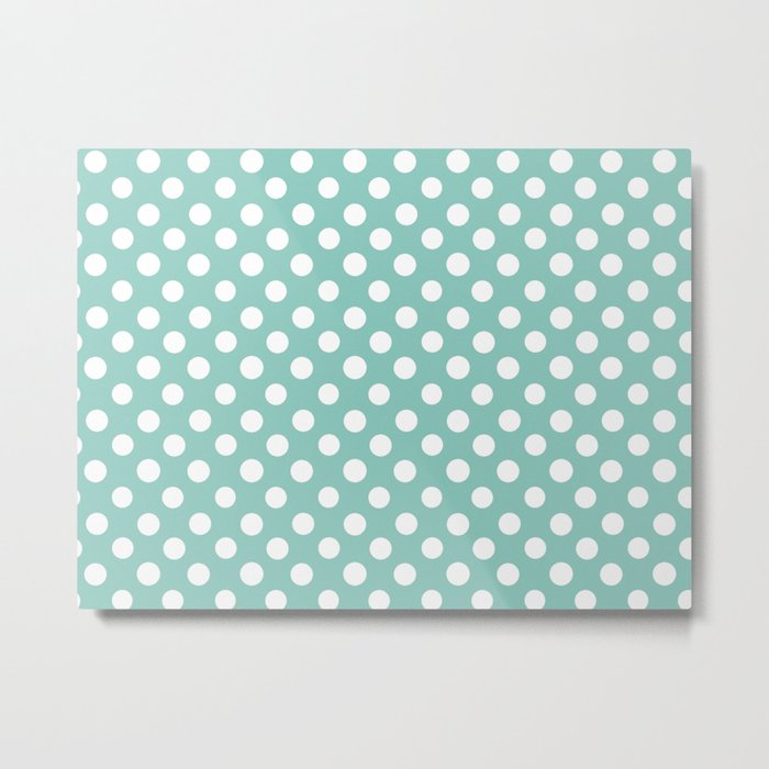 Beautiful HOME- Girls just wanna have dots - turquoise Metal Print