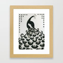 Peacock in Black Framed Art Print