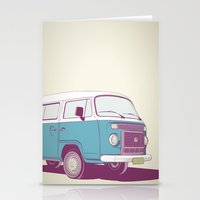 vw bus Stationery Cards featuring VW Combi v.02 by CranioDsgn