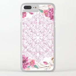 Mandala Rose Garden Pink on White Clear iPhone Case