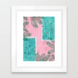 Two pool vacation Framed Art Print