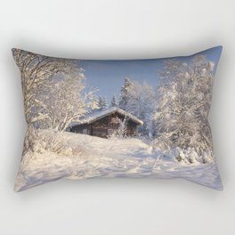 Winter nature in sunset Rectangular Pillow