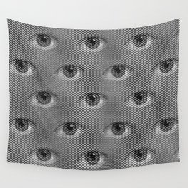 Pop-Art Black And White Eyes Pattern Wall Tapestry