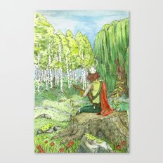 Druid Playing Lute in an Open Meadow Canvas Print